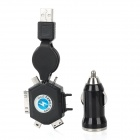 Car Cigarette Powered USB Adapter/Charger w/ 6-in-1 Retractable USB Charging Cable Set - Black