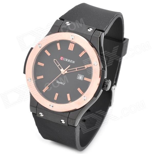 CURREN 8101 Men's Round Dial Rubber Band Quartz Wrist Watch - Black + Rose Golden new fashion men business quartz watches top brand luxury curren mens wrist watch full steel man square watch male clocks relogio