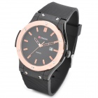 CURREN 8101 Men's Round Dial Rubber Band Quartz Wrist Watch - Black + Rose Golden