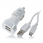 Momax Car Power Charger Dual-USB Adapter w/ Micro USB Cable - White (DC 12~24V)
