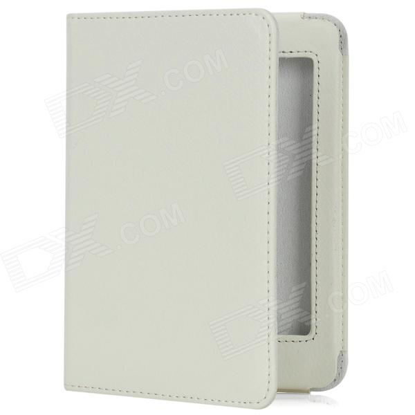 Lichee Pattern Sleep Protective PU Leather Case for Kindle Paperwhite - White