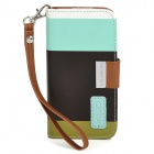KALAIDENG Painting Series Protective PU Leather Case for Iphone 5 - Deep Brown + Aquamarine + Olive
