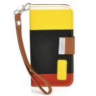 KALAIDENG Painting Series Protective PU Leather Case for Iphone 5 - Black + Yellow + Red
