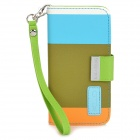 KALAIDENG Painting Series Protective PU Leather Case w/ Strap for Iphone 5 - Olive + Blue + Orange