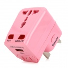 Universal Socket Traveling Power Adapter w/ EU / UK / AU / 2-Flat-Pin Plug - Pink (AC 250V)