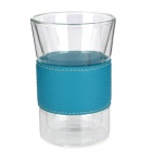 Creative PU Leather Band Rounded Design High Borosilicate Glass Cup - Blue + Transparent (190ml)