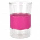 YSDX-619 High Borosilicate Glass Cup w/ PU Leather Cup Cover - Transparent + Deep Pink (190ml)