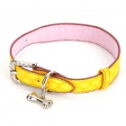 PU Adjustable Pet Dog Collar Leash - Yellow (Size M)