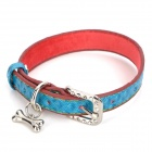 PU Adjustable Pet Dog Collar Leash - Red + Blue (Size M)