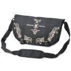 Skull Pattern Casual Nylon Aslant Bag w/ Strap - Black