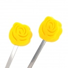 Thinkinge Kitchen Yellow Rose Stainless Steel Drink Muddler Stirrer - Yellow + Silver (2 PCS)