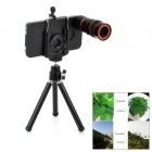 3-in-1 Multifunction 8X Telescope / Wide Angle / Fish Eye Lens for Iphone / Mobile Phone - Black