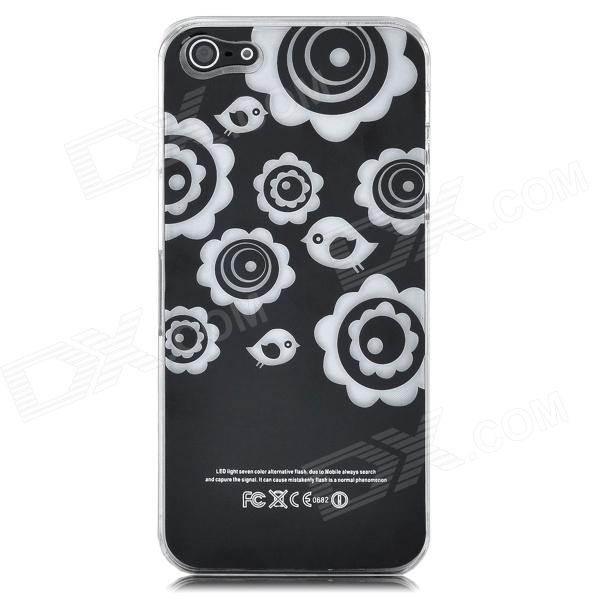 Flower Pattern Protective Back Case w/ Caller Signal Flashing LED for Iphone 5 - Black блендер philips погружной hr1627 00 белый красный hr1627 00
