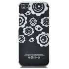 Flower Pattern Protective Back Case w/ Caller Signal Flashing LED for Iphone 5 - Black