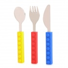 Western Food Silikon Handle Knife + Gabel + Löffel Geschirr Set - Blau + Rot + Gelb