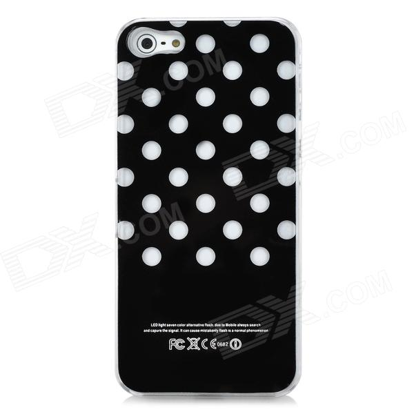 Dot Pattern LED Smart Glistening Protective Back Case for Iphone 5 - Black (1 x CR2016 battery) stylish star pattern multicolored led protective plastic back case for iphone 4 black 1 x cr2016