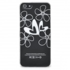 Heart Pattern Protective Back Case w/ Caller Signal Flashing LED for Iphone 5 - Black