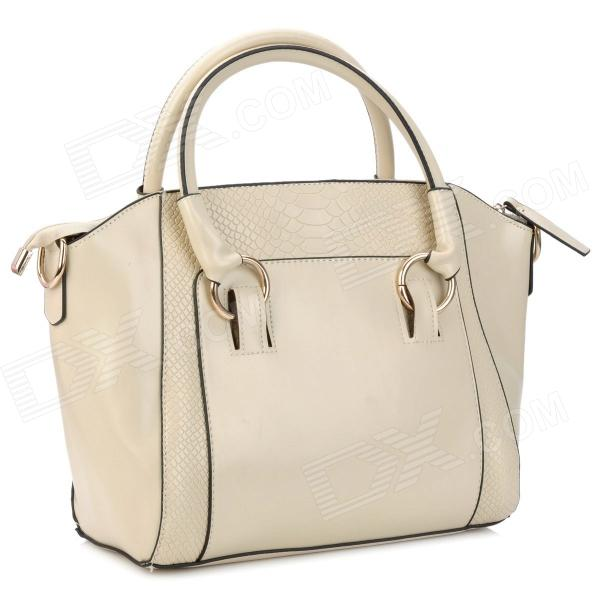 Crocodile Grain Pattern Fashion Lady's PU Leather Hand / Shoulder / Aslant Bag - Beige