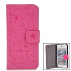 Cute Pattern Protective PU Flip Case for Iphone 5 - Deep Pink