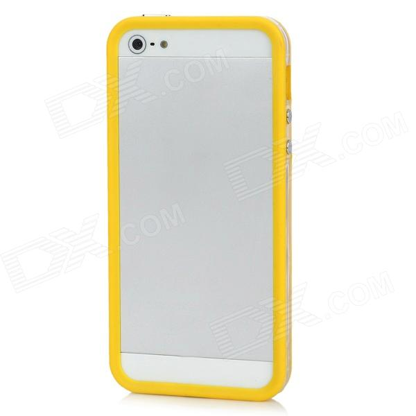 Ultra-thin Protective Silicone Bumper Frame Back Case for Iphone 5 - Yellow ultra thin protective silicone bumper frame for iphone 5 black