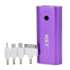 WST-A8 Внешние 5600mAh Power Bank ж / адаптеры для iPhone / Nokia / Samsung - Purple
