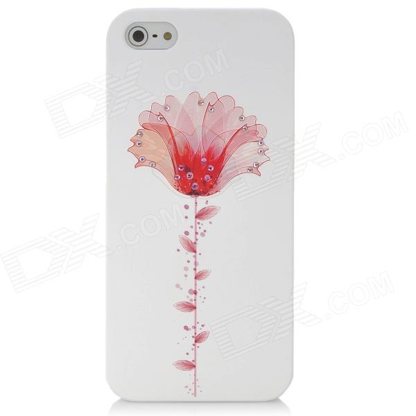 3 D colorful Flower Pattern Protective CrystalPC Back Case for Iphone 5 / 5s - White