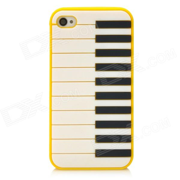 Lovely Piano Pattern Protective Silicone Back Case for Iphone 4 / 4S - Yellow mekiculture embossed pc phone cover for iphone 7 plus iron man portrait