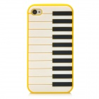 Lovely Piano Pattern Protective Silicone Back Case for Iphone 4 / 4S - Yellow
