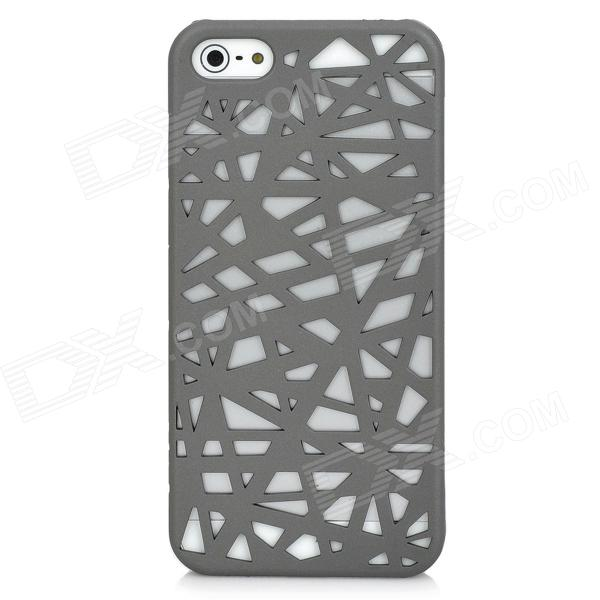 Bird Nest Skeleton Grid Pattern Protective Plastic Back Case for Iphone 5 - Grey london pattern protective plastic back case w front screen protector for iphone 5 grey red