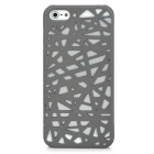 Bird Nest Skeleton Grid Pattern Protective Plastic Back Case for iPhone 5 - Grey