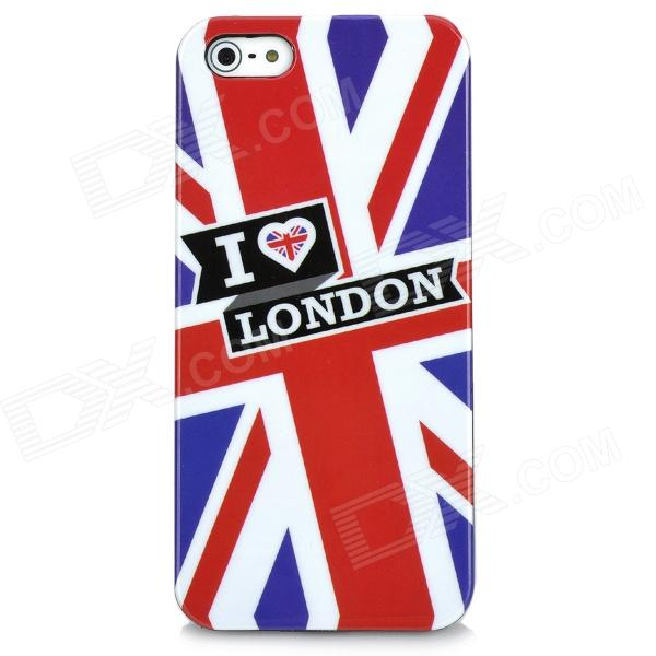 I Love London Style Protective Plastic Case w/ Screen Protector for Iphone 5 - Blue + Red london pattern protective plastic back case w front screen protector for iphone 5 grey red