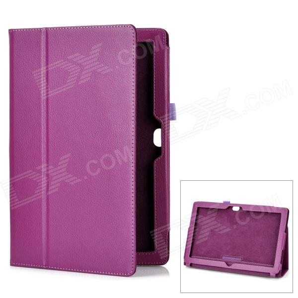 Protective Genuine Leather Case Stand for Microsoft Surface RT - Purple