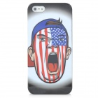 Howler Pattern Protective Plastic Back Case for Iphone 5 - White + Blue + Red