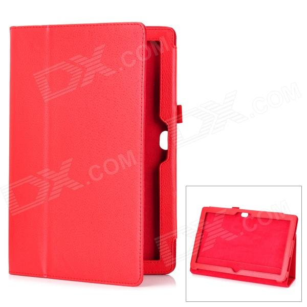 Protective Genuine Leather Case Stand for Microsoft Surface RT - Red protective genuine leather case stand for microsoft surface rt purple