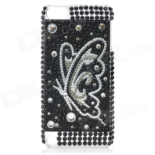 Butterfly Pattern Acrylic Diamond Protective Back Case for Ipod Touch 5 - Black + White
