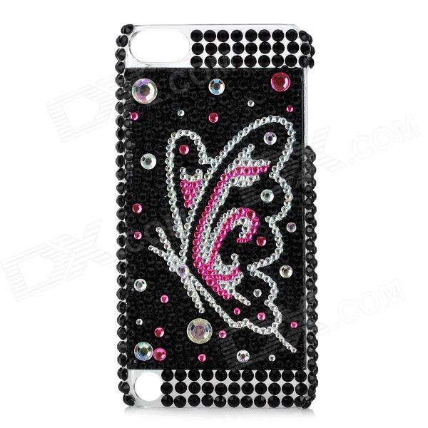 Butterfly Pattern Protective Back Case w/ Acrylic Rhinestone for Ipod Touch 5 - White + Black