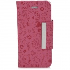 Cartoon Pattern Protective PU Case w/ Buckle for iPhone 5 - Deep Pink