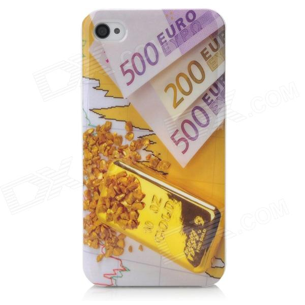 Euro Currency Pattern Protective Back Case for Iphone 4 / 4S - White + Golden nillkin protective matte plastic back case w screen protector for iphone 6 4 7 golden