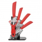 "KFFM KF-680 6-in-1 6"" + 5"" + 4"" +3"" Ceramic Knives + Peeler Set w/ Holder - Red + White"