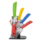 "KFFM KF-682 6-in-1 6"" + 5"" + 4"" +3"" Ceramic Knives + Peeler Set w/ Holder - Yellow + Red + More"