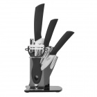 "KF-680 3-in-1 3"" + 5"" + 6"" Chic Nanometer Ceramic Knives + Peeler Set w/ Holder - White + Black"