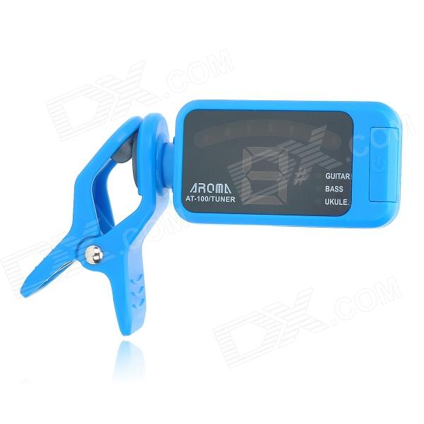 AROMA AT-100 Clip-On Tuner for Guitar / Bass / Violin / Ukulele - Blue + Black (1 x CR2032)