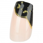 French Style Water Wave Pattern 24-in-1 Long Artificial Nails - Black + Beige