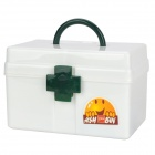 KangXingBao HQS-B363 Portable Medicine Pill Storage Box First Aid Kit - White + Green