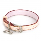 PU Adjustable Pet Dog Collar Leash - Light Pink (Size M)