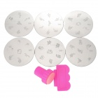 #85-90 DIY Nail Art Stamp Steel Plastic Plates Set - Silver