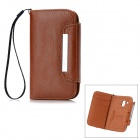 KALAIDENG Freshing Series Protective PU Leather Case w/ Card Slots for Samsung S7562 - Brown