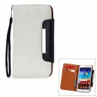 Kailaideng Protective PU Leather Flip-Open Case w/ Slots for Samsung Galaxy Note2 - White + Black