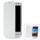 Rechargeable 3600mAh External Battery w/ Flip-Open PU Leather Case for Samsung Galaxy Note2 - White