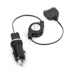 NU-030 30P 2-in-1 Car Cigarette Powered Adapter Charger w/ Retractable USB Cable for iPhone 4 / 4S